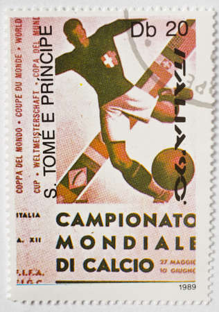 SAO TOME AND PRINCIPE - CIRCA 1989  a stamp from Sao Tome and Principe shows image celebrating the 1990 FIFA World Cup, circa 1989  Editorial