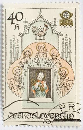 CZECHOSLOVAKIA - CIRCA 1978  a stamp from Czechoslovakia shows a religious depiction of Prague, circa 1978  Editorial