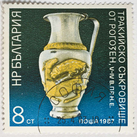 BULGARIA - CIRCA 1987  a stamp from Bulgaria shows image of a vase, circa 1987