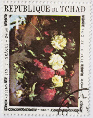 CHAD - CIRCA 1977  a stamp from Chad shows the painting The Three Graces by Rubens, circa 1977