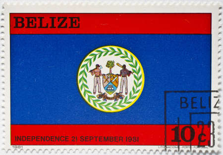 BELIZE - CIRCA 1981  a stamp from Belize shows the Belize flag and celebrates Belize s Independence Day, 21 September 1981, circa 1981