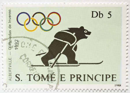 SAO TOME AND PRINCIPE - CIRCA 1988  a stamp from Sao Tome and Principe shows image of a bear on skis and commemorates the Albertville 1992 Winter Olympics, circa 1988  Editorial