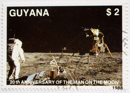 GUYANA - CIRCA 1988  a stamp from Guyana shows image of the first moon landing, circa 1988