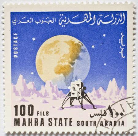 MAHRA SULTANATE - CIRCA 1969  A stamp from Mahra Sultanate  present day Yemen  shows image of a lunar lander, circa 1969
