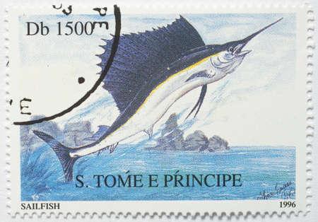principe: SAO TOME Y PRINCIPE - CIRCA 1996 un sello de Sao Tome and Principe de la imagen muestra un pez vela Istiophorus, alrededor de 1996 Foto de archivo