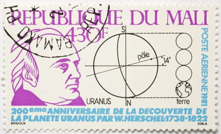 MALI - CIRCA 1981  a stamp from Mali shows image of William Herschel and commemorates his discovery of Uranus in 1781, circa 1981  Editorial
