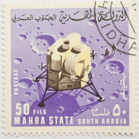 MAHRA SULTANATE - CIRCA 1969  a stamp from Mahra Sultanate  present day Burkina Faso  shows image commemorating a moon landing, circa 1969