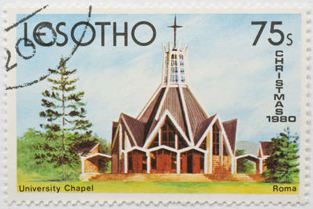 LESOTHO - CIRCA 1980  a stamp from Lesotho shows image of University Chapel in Roma, Maseru District, Lesotho, circa 1980  Editorial