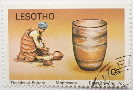 LESOTHO - CIRCA 1980  a stamp from Lesotho shows image of a beer brewing pot, from the traditional pottery series, circa 1980