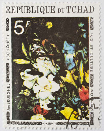 CHAD - CIRCA 1977  a stamp from Chad shows a painting of a bouquet of flowers by Flemish artist Jan Brueghel, circa 1977