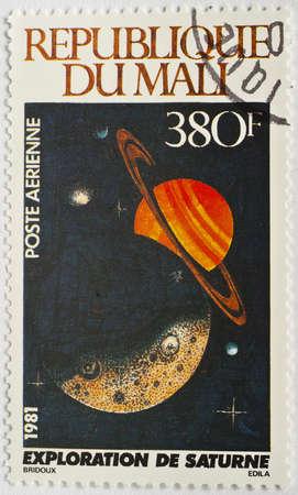 MALI - CIRCA 1981  A stamp from Mali shows image Saturn, circa 1981