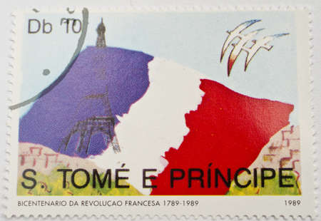 SAO TOME AND PRINCIPE - CIRCA 1989  a stamp from Sao Tome and Principe shows image of the French flag and Eiffel Tower, circa 1989