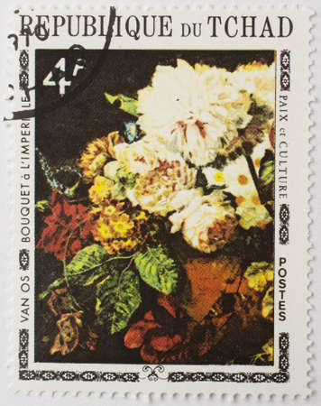 CHAD - CIRCA 1977  a stamp from Chad shows a painting of a bouquet of flowers by Dutch painter Georgius Jacobus Johannes van Os, circa 1977