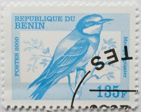 BENIN - CIRCA 2000  a stamp from Benin shows image of a European bee eater  Merops apiaster , circa 2000  Editorial