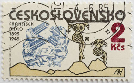CZECHOSLOVAKIA - CIRCA 1985  a stamp from Czechoslovakia shows image commemorating the 90th birthday of Frantisek Bidlo, the Czech caricaturist, and shows one of his works, circa 1985