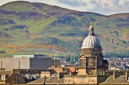 Pentland Hills with Old College in Foreground, Edinburgh Stock Photo