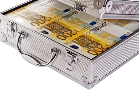 heist: Metallic case full of Euro Stock Photo