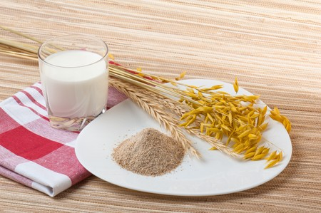 Glass of milk and wheat ears photo