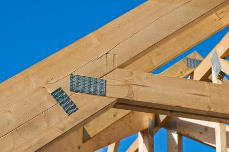 Wooden rafters against the blue sky Stock Photo - 7858743