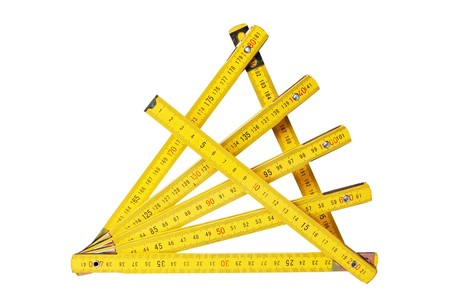 collapsible: Yellow collapsible ruler of the carpenter