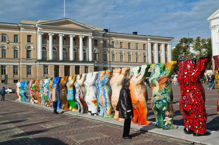 the senate: HELSINKI, FINLAND - SEPTEMBER 27: United Buddy Bears exhibition visiting on Senate Square with their 20th exhibition from 1 September to 26 October 2010 on September 20, 2010 in Helsinki, Finland Editorial