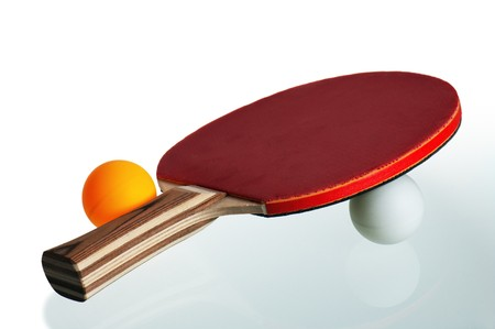 Table tennis racket and ball isolated on white background Stock Photo - 8103886