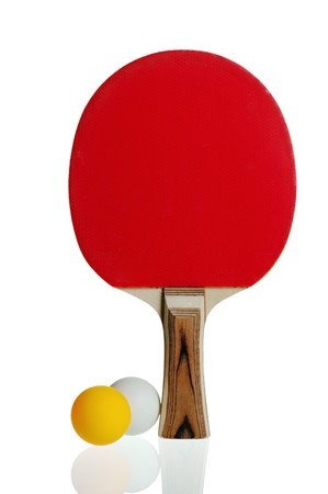 Table tennis racket and ball isolated on white background photo