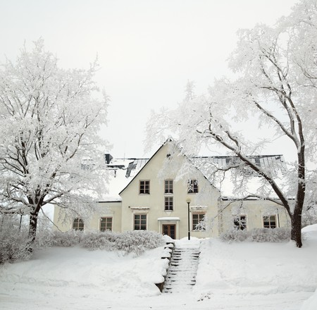 The trees covered by hoarfrost at the old house photo