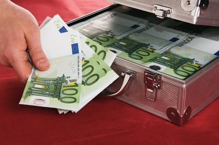 Metallic case full of Euro Stock Photo - 8173171