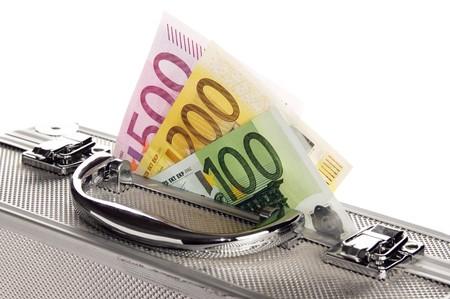 Metallic case full of Euro ,isolated on white Stock Photo - 8173115