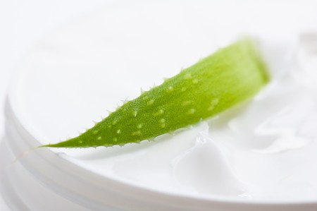 Aloe and face cream, a close up Stock Photo