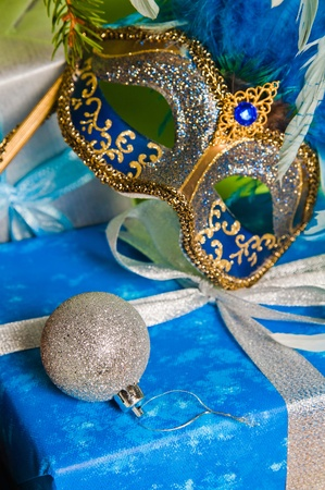 New Years and Christmas ornaments and a carnival a mask photo