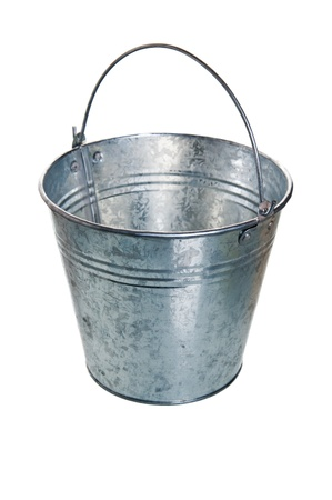 The empty zinced bucket a close up is isolated on white Stock Photo