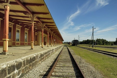 estonia: Old railway station in Haapsalu  Stock Photo