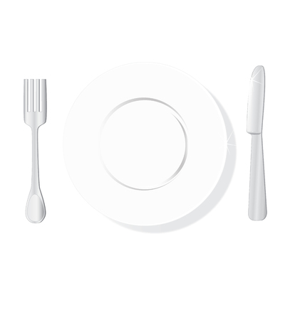 silver ware: The served plate, plug and knife  Illustration