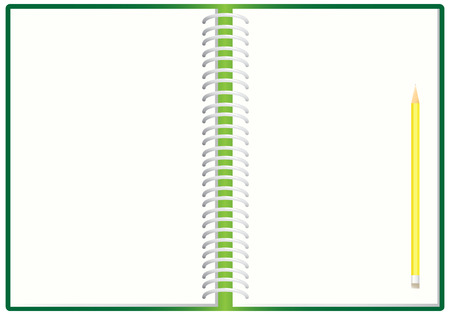 El cuaderno espiral abierta y lápiz, ilustración