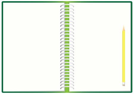 cuaderno espiral: El cuaderno espiral abierta y l�piz, ilustraci�n