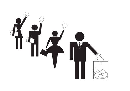 Symbols of group of people voting on elections, illustration