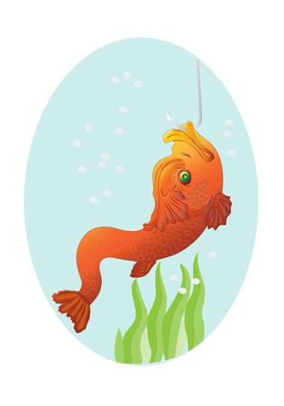 Gold fish on a hook, a illustration  Vector