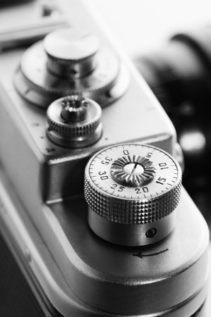 THE OLD FILM CAMERA. A black-and-white photo Stock Photo - 8888523