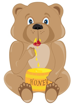 The bear cub eats honey from a keg Vector