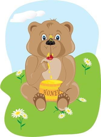 The bear cub eats honey from a keg Vector