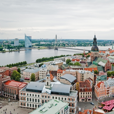 View over Old Town of Riga, Latvia Standard-Bild