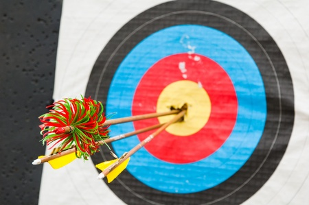 arrows in the center of the target Stock Photo - 9951880