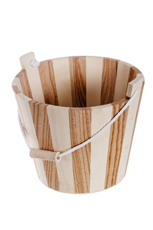 The wooden bucket, is isolated on white photo