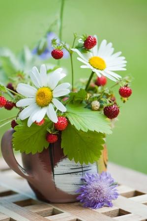 Bouquet von einem Kamille und Walderdbeeren