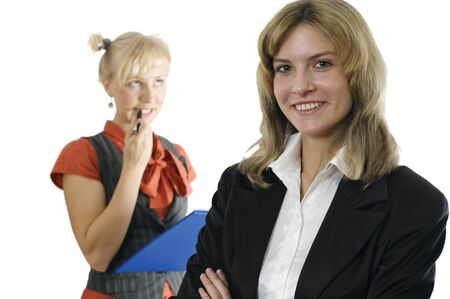 subordinate: Young business woman and its subordinate on a background