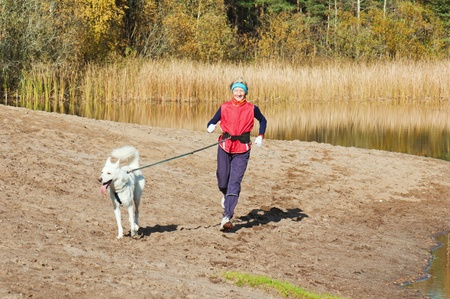 The sports woman with a dog run along coast of the rivers Stock Photo - 10873333