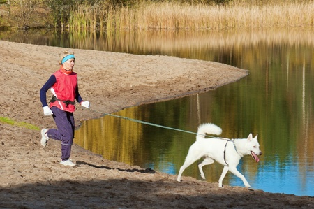 wade: The sports woman with a dog run along coast of the rivers Stock Photo