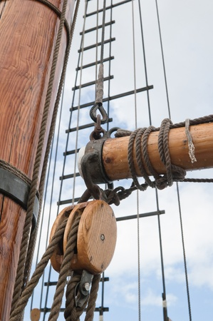 pirate crew: Old sailing ship masts and sails and rigging